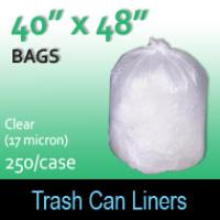 "Trash Bags-Clear 40"" x 48"" (17micron) 250 Per Case"