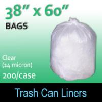 "Trash Bags-Clear 38"" x 60"" (14micron) 200 Per Case"