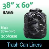 "Trash Bags-Black 38"" x 60"" (17micron) 200 Per Case"
