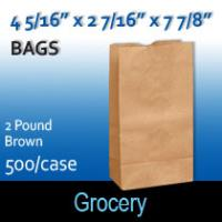 2# Brown Grocery Bags (4 5/16 x 2 7/16 x 7 7/8)