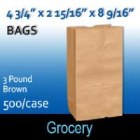 3# Brown Grocery Bags (4 3/4 x 2 15/16 x 8 9/16)