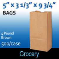 4# Brown Grocery Bags (5 x 3 1/3 x 9 3/4)
