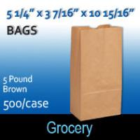 5# Brown Grocery Bags (5 1/4 x 3 7/16 x 10 15/16)