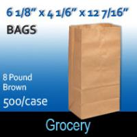 8# Brown Grocery Bags (6 1/8 x 4 1/6 x 12 7/16)