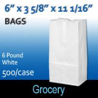 6# White Grocery Bags (6 x 3 5/8 x 11 1/16)