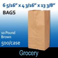 10# Brown Grocery Bags (6 5/16 x 4 3/16 x 13 3/8)