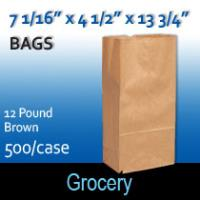 12# Brown Grocery Bags (7 1/16 x 4 1/2 x 13 3/4 )