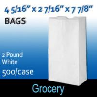 2# White Grocery Bags (4 5/16 x 2 7/16 x 7 7/8)