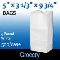 4# White Grocery Bags (5 x 3 1/3 x 9 3/4)