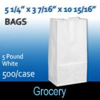 5# White Grocery Bags (5 1/4 x 3 7/16 x 10 15/16)