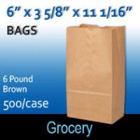 6# Brown Grocery Bags (6 x 3 5/8 x 11 1/16)
