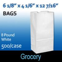 8# White Grocery Bags (6 1/8 x 4 1/6 x 12 7/16)