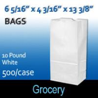 10# White Grocery Bags (6 5/16 x 4 3/16 x 13 3/8)
