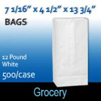 12# White Grocery Bags (7 1/16 x 4 1/2 x 13 3/4 )