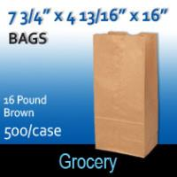 16# Brown Grocery Bags (7 3/4 x 4 13/16 x 16 )
