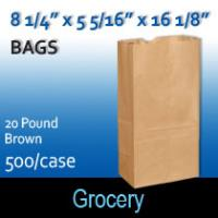 20# Brown Grocery Bags (8 1/4 x 5 5/16 x 16 1/8 )