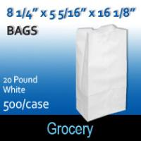 20# White Grocery Bags (8 1/4 x 5 5/16 x 16 1/8 )