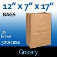 1/6 Brown Grocery Sacks (12 x 7 x 17)