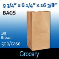 1/8 Brown Grocery Sacks (9 3/4 X 6 1/4 X 16 3/8)