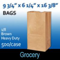 1/8 Heavy Duty Grocery Sacks  (9 3/4 X 6 1/4 X 16 3/8)