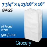 16# White Grocery Bags (7 3/4 x 4 13/16 x 16 )