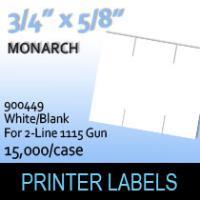"Monarch ""White/Blank"" Labels (For 2-Line 1115 Gun)"