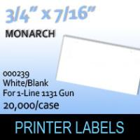 "Monarch ""White/Blank"" Labels (For 1-Line 1131 Gun)"