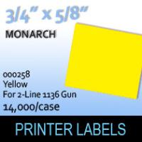 """Monarch """"Yellow"""" Tag Labels (For 2-Line 1136 Gun)"""