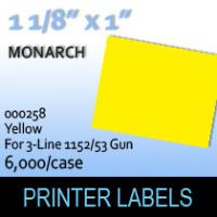 "Monarch ""Yellow"" Tag Labels  (For 3-Line 1152/53 Gun)"