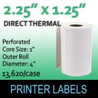 "Direct Thermal Labels 2.25"" x 1.25"" Perf"