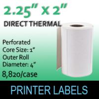"Direct Thermal Labels 2.25"" x 2"" Perf"