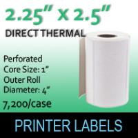 "Direct Thermal Labels 2.25"" x 2.5"" Perf"