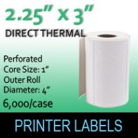 "Direct Thermal Labels 2.25"" x 3"" Perf"