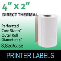 "Direct Thermal Labels 4"" x 2"" Perf"