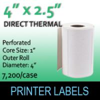 "Direct Thermal Labels 4"" x 2.5"" Perf"