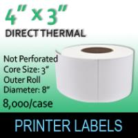 "Direct Thermal Labels 4"" x 3"" No Perf"