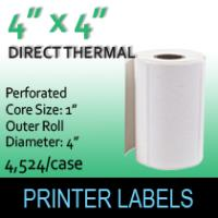 "Direct Thermal Labels 4"" x 4"" Perf"