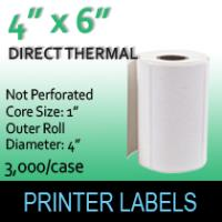 "Direct Thermal Labels 4"" x 6"" Non Perf"