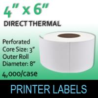 "Direct Thermal Labels 4"" x 6"" Perf"