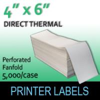"Direct Thermal Labels 4"" x 6"" Perf Fanfold"
