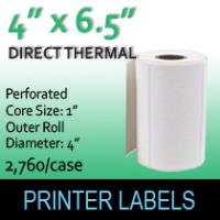 "Direct Thermal Labels 4"" x 6.5"" Perf"