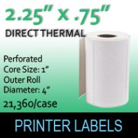 "Direct Thermal Labels 2.25"" x .75"" Perf"
