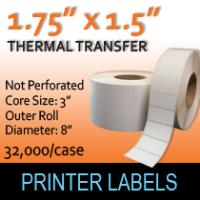 "Thermal Transfer Labels 1.75"" x 1.50"" Non Perf"