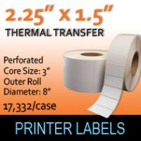 "Thermal Transfer Labels 2.25"" x 1.5"" Perf"