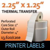 "Thermal Transfer Labels 2.25"" x 1.25"" Perf"