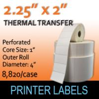 "Thermal Transfer Labels 2.25"" x 2"" Perf"
