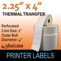 "Thermal Transfer Labels 2.25"" x 4"" Perf"