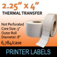 "Thermal Transfer Labels 2.25"" x 4"" Non Perf"