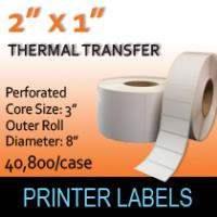 "Thermal Transfer Labels 2"" x 1"" Perf"