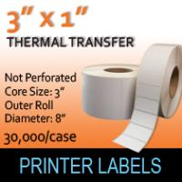 "Thermal Transfer Labels 3"" x 1"" Non Perf"